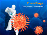 PowerPoint Template - Human fighting the virus injecting the vaccine