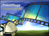 PowerPoint Template - Cinema video film 3D with light effect.