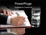 PowerPoint Template - View of human hands on with a pen ready to write with a glass of water standing near by