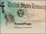 PowerPoint Template - A blank US government check with selective focus on the statue of liberty
