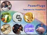 PowerPoint Template - An array of finance, money themed pictures over euro coin in pink and blue background.