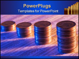 PowerPoint Template - Coins stacked as a rising graph on stock report
