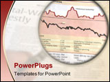 PowerPoint Template - hand holding a magnifying glass focusing on a chart in the business section of the newspaper.