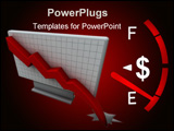 PowerPoint Template - Cash gauge on the dashboard approaching empty value