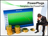 PowerPoint Template - Market chart with graph and stack of money