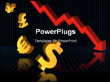 PowerPoint Template - Abstract vector illustration of financial graphs and currency symbols crashing to the floor