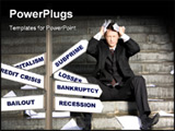 PowerPoint Template - Image of frustrated professional with his eyes closed in grief during crisis