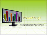 PowerPoint Template - Bar chart on the computer monitor over green grid background