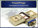 PowerPoint Template - Stack of Money with a Lock and Key - Financial Security Concept