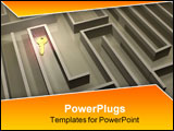 PowerPoint Template - a golden key in labyrinth - 3d render