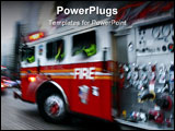 PowerPoint Template - panning image of a fire trucks rushing on the street in intentional motion blur