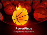 PowerPoint Template - fire basketball glow game ball over the hardwood floor