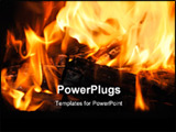 PowerPoint Template - Closeup of the wood burns on fire