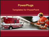 PowerPoint Template - Firefighter putting off a fire