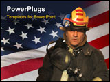 PowerPoint Template - a firefighter in gear over an american flag