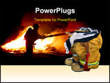 PowerPoint Template - Fireman Boots Waiting to Be Put On
