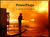 PowerPoint Template - irefighters in work fire extinguishing burning house ** Note: Slight graininess, best at smaller si