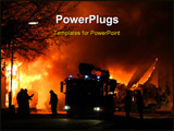 PowerPoint Template - Firemen at work during a major fire at night