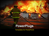 PowerPoint Template - fireman and hose