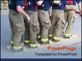 PowerPoint Template - This is a picture of a group of firefighters doing a relay that shows teamwork.
