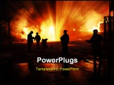 PowerPoint Template - Silhouette of firefighters - Inferno - Danger work