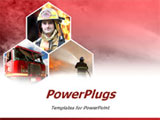 PowerPoint Template - Firemen and a fire truck on red background