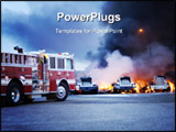 PowerPoint Template - firemen fight a fire that has involved industrial trucks.