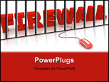PowerPoint Template - modern red computer mouse connected to the red word Firewall