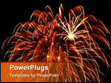 PowerPoint Template - Large feathery fireworks burst with smaller bursts