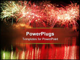 PowerPoint Template - Spectacular fireworks in the night sky reflecting in the lake