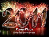 PowerPoint Template - Happy new year 2011 (fireworks with white background)