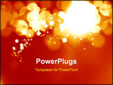 PowerPoint Template - bright fireworks on a soft orange background