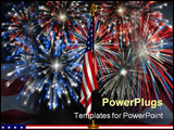 PowerPoint Template - fireworks displayed behind the american flag on a stand against a night sky