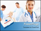 PowerPoint Template - Portrait of a doctor with two of her co-workers talking with a patient in the background