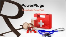 PowerPoint Template - First aid kit on white background. Isolated 3D image