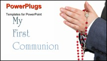 PowerPoint Template - My first communion sign with praying boy hands