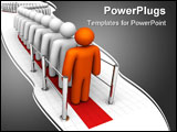 PowerPoint Template - A long line of people at a checkout. 3D rendered on an isolated background.