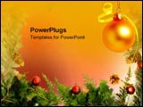 PowerPoint Template - Christmas border with gold ornament.
