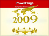 PowerPoint Template - ew years 2007 with a world map in the background, a new fiscal year. clipping path, financial, team