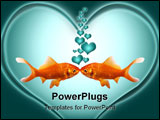PowerPoint Template - Two goldfish kissing with heart bubbles going up