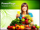 PowerPoint Template - Young smiling woman with juice fruits and vegetables.