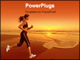 PowerPoint Template - woman running during a beautiful sunset on the beach