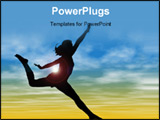 PowerPoint Template - Silhouette Of Woman Jumping Against Sky.