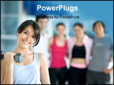 PowerPoint Template - woman at the gym exercising with free weights in front of a group