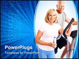 PowerPoint Template - Gym & Fitness. Smiling elderly couple working out. Isolated over white background
