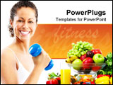 PowerPoint Template - Woman fitness working out exercise health. Isolated over white background