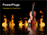 PowerPoint Template - old wooden violin in flames reflecting in water waves in night