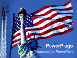 PowerPoint Template - statue of liberty with the american flag