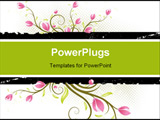 PowerPoint Template - Grunge AD background with flowers and leaves
