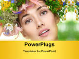 PowerPoint Template - beauty flower girl on the blurry background